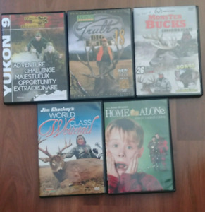 Selling 4 hunting and 1 Home alone dvd's