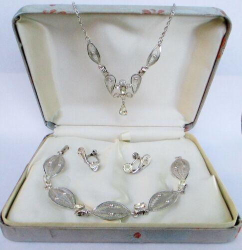 Vintage Espo Flex Sterling Silver Filigree Parure Necklace Bracelet Earrings