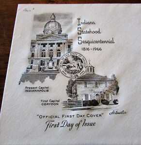 1966 Indiana Statehood Sesquicentennial 5 Cent First Day Cover Kitchener / Waterloo Kitchener Area image 2