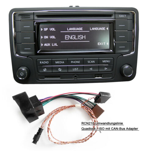 VW Autoradio RCN210 BT CD USB AUX SD GOLF TOURAN JETTA POLO Caddy mit CAN Kabel