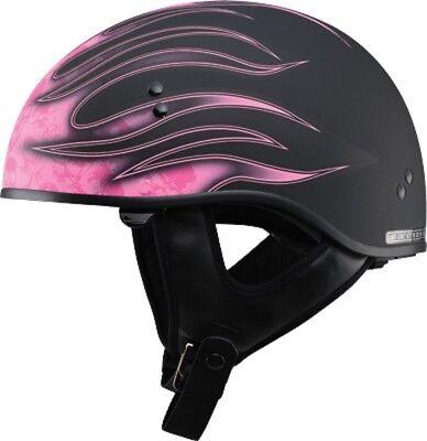 GMAX GM65 HALF HELMET MATTE BLACK/PINK w/FLAMES SMALL S w/SUN-SHIELD  Pink Flames Half Helmet