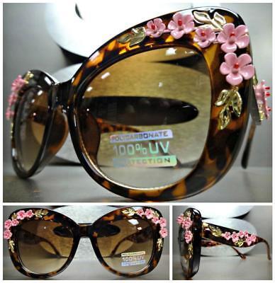 VINTAGE RETRO 60's CAT EYE Style SUN GLASSES Tortoise Frame Floral Flower (Pink Cat Eye Glasses)