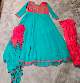 Mint and pink asian dress