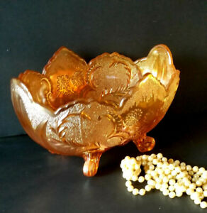 Vintage Marigold Carnival Glass Footed Centerpiece, Fruit Bowl
