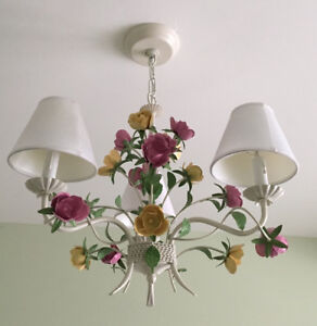 Vintage tole floral chandelier with roses