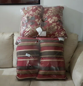 2-Pack Decorative Red/Brown Floral/Striped Reversible