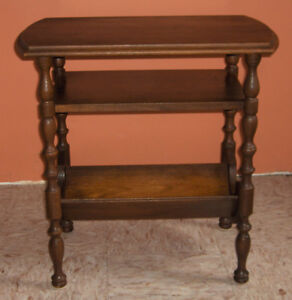 Antique Walnut End Table with magazine rack