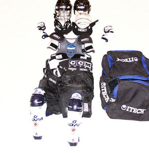 Set of Hockey Equipment - Pads, Helmet