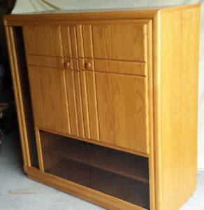 Oak Cabinet with room for TV, audio video and media