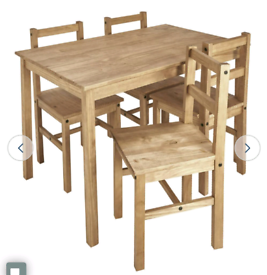 Brand new pine dining table and chairs
