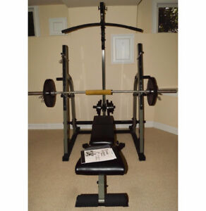 Nautilus Rack With Bench & Lat Pulldown + Plates & Bars