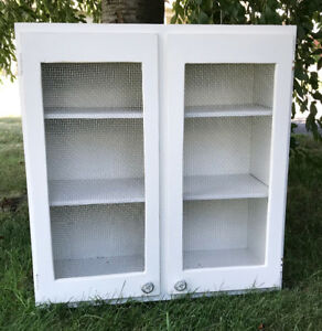 Upcycled Vintage (1966) Cabinet Cupboard Chicken Wire Farmhouse