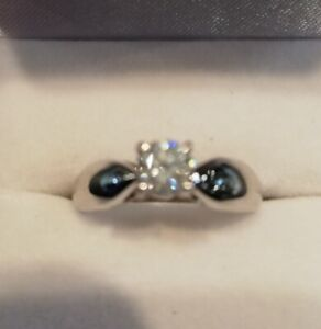 SOLITAIRE DIAMOND ENGAGEMENT RING - 14K White Gold, .50 cts