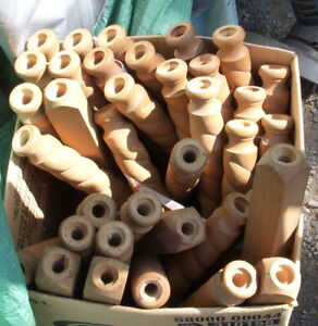 36 threaded wood spindles about 12 inches long each