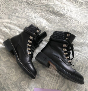 Chanel tweed detail combat boots - size 6