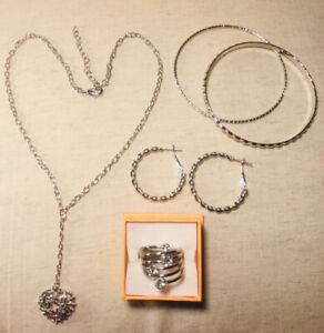 SALE:  Valentine's Day Silver Tone Costume Jewelry Collection