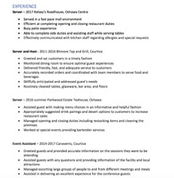 Looking for part-time serving position (experience attached)