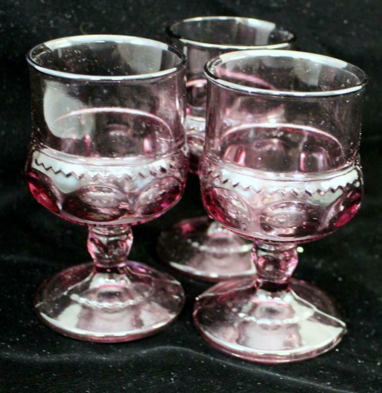 Anchor Hocking BOOPIE RED 3 Juice Glasses GREAT CONDITION