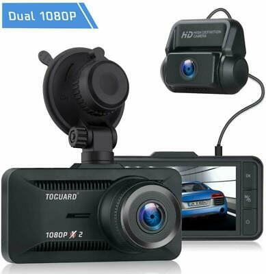 TOGUARD Dual Lens Dash Cam Front+Rear 1080P Dashboard Car Backup Camera Recorder