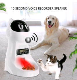Pet feeder, automatic, for dog, cat, with timer, voice recorder, NEW
