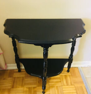 Solid wood demilune table