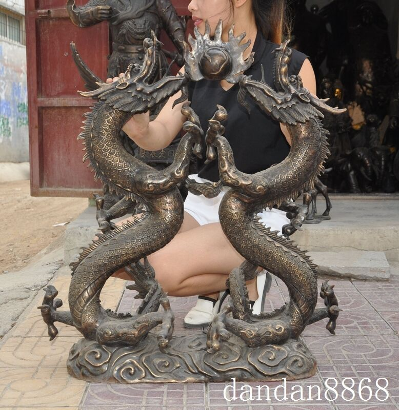 """31""""old Chinese Noble Palace Bronze Royal Dragon Huge Dragons Playing Bead Statue"""