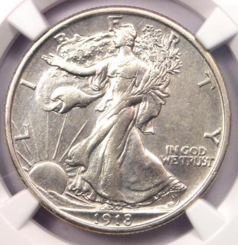 1918 Walking Liberty Half Dollar 50C - Certified NGC AU Details - Rare Date!