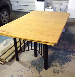 Solid Oak-Black Metal-Leather Dining Room Set