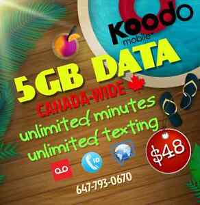 Koodo 5GB LTE DATA Plan ✱ $48/month ✱ UNLIMITED ✱ LOW SETUP FEE!