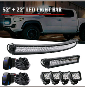 LED 52 Inch Light Bar with 4 Pods Rocker Swirch and Wiring