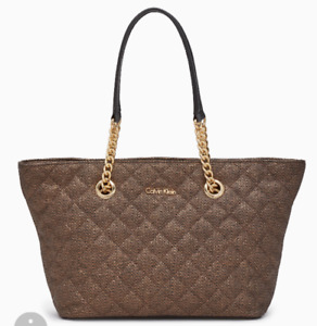 Calvin Klein quilted tote bag. Antique bronze color.