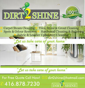 DIRT2SHINE: CARPET ,UPHOLSTERY & TILE  CLEANING 416-878-7230
