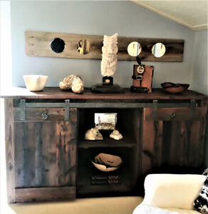RUSTIC BUFFET SIDEBOARD, HAND FORGED HARDWARE, HANDCRAFTED