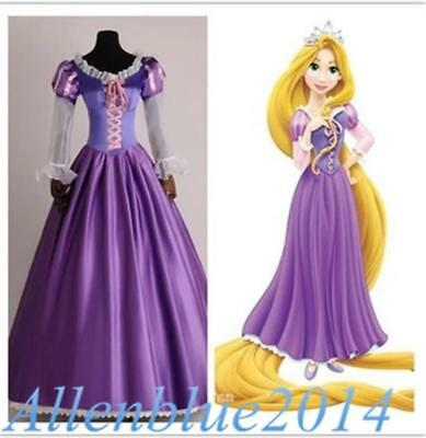 Adult Rapunzel Fancy Women Dress Cosplay Costume Princess Tangled Purple Outfit  - Rapunzel Costume Women