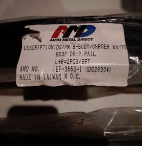 AMD Dodge Charger 68-70 B-Body Roof Drip Rails, Pair