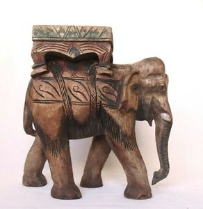 Hand Carved & Painted Beautiful Elephant - HUGE - Read the Ad