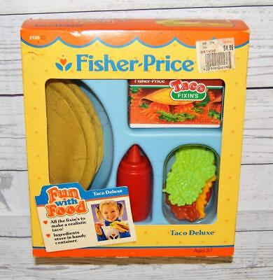 NEW Vintage Fisher Price TACO DELUXE Mexican Fixin's Kit Box Fun With Food Play