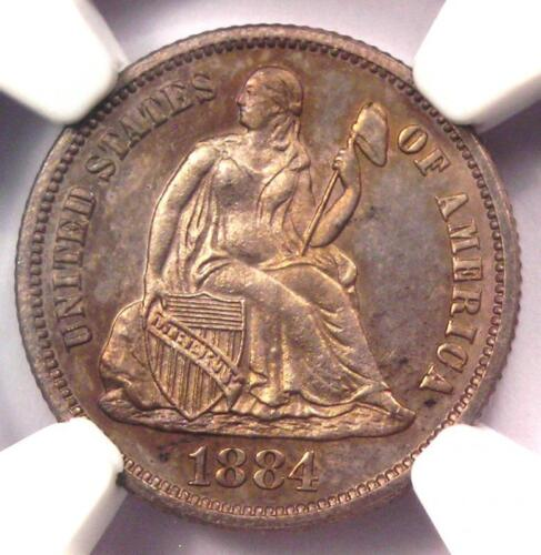 1884 PROOF Seated Liberty Dime 10C Coin. Certified NGC PR66 (PF66) - $1450 Value