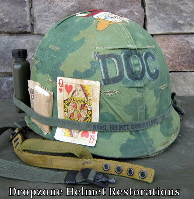 "Used, Vietnam M-1C 101st Airborne Helmet 1967 Paratrooper Liner Camo Cover ""DOC""  for sale  Shipping to Canada"