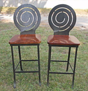 STOOLS - Solid wood and iron frame pair of stools