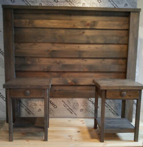 SOLID PINE HEADBOARD WITH SIDE TABLES !  SAVE $ 400 !