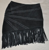 BRAND NEW Leather Collection Black Suede Skirt Size S