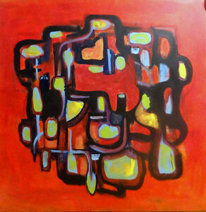 "NEW 48x48"" HUGE ORIGINAL ABSTRACT PAINTING / Red Orange Black Art / Oakville VERY LARGE Square RED OCTOBER  / DELIVERY"