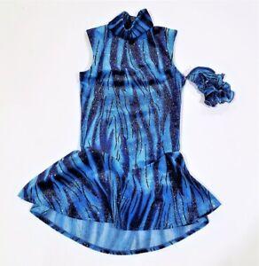 NEW - GIRLS BLUE SPARKLE FIGURE SKATING DRESS