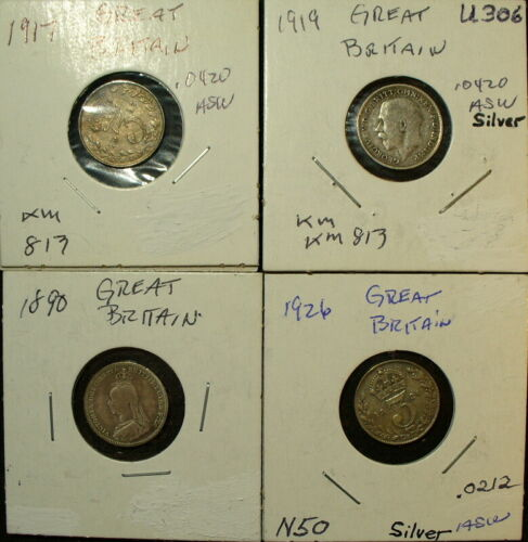 Five Silver UK Great Britain Coins