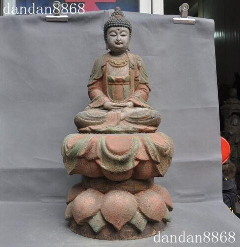 Rare Tibet Buddhism Old Wood Carved Sakyamuni Shakyamuni Tathagata Buddha Statue