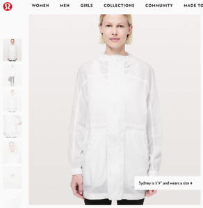 Lululemon 'In the Clear Jacket' Size 4 , white, Brand New