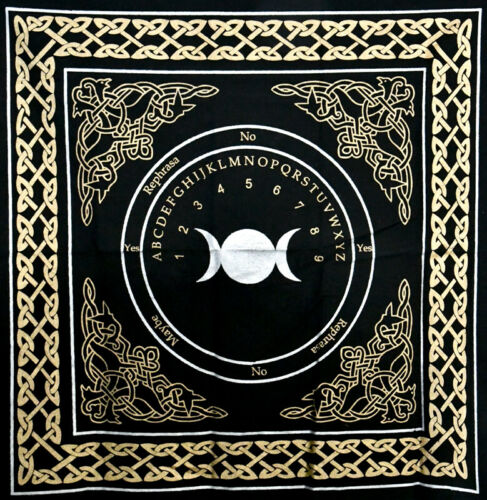 """Triple Moon Pendulum/ Ouija altar cloth 24""""x24"""" Wiccan Witchcraft Supply Store"""
