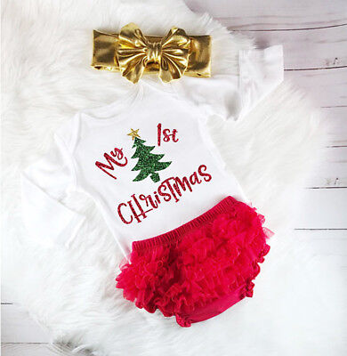 Christmas Newborn Baby Girls Long Sleeve Romper Lace Shorts Outfits Clothes 0-2T