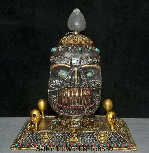 "10.4"" Rare Old Tibet Filigree Crystal Inlay turquoise Skul skeleton Head Statue"